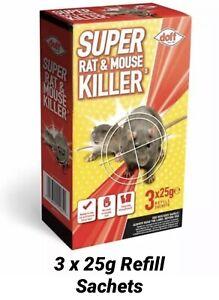 Doff Super Rat & Mouse Killer Bait. 3 x 25g Refill Sachets.