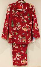 Nick & Nora Womens Red Vintage Christmas Santa Claus Flannel Pajamas Medium NWT
