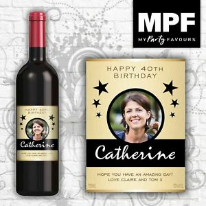 Personalised Photo Wine Bottle Label (Birthday/Any occasion) (GLD)