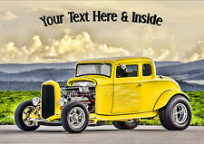 PERSONALISED HOT ROD CLASSIC CAR RETRO BIRTHDAY FATHERS DAY ANY OCCASION CARD