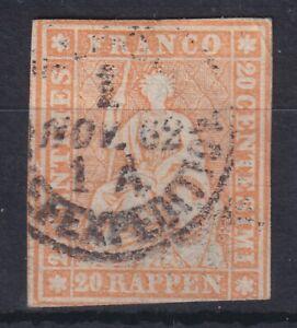 1857 Strubbel Switzerland/Helvetia; 20rp orange; SG 50; Cat £82; Ref: 21