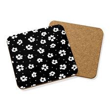 negro y Blanco Floral Posavasos Felpudo Corcho Cuadrado - Estampado