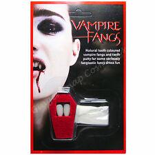 Vampire Fangs Teeth Caps Dracula Halloween Make Up Fancy Dress & Tooth Putty