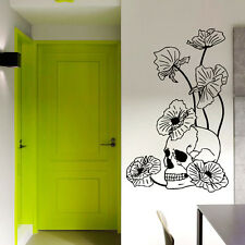 Wall Vinyl Decal Skull Poppies Dangerous Flowers Sticker Art Interior Decor m670