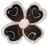 Black Obsidian & Rose Quartz Flower Large Sterling Silver Pendant + Long Chain