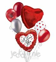 7 pc Red Roses Border I Love You Heart Valentines Day Balloon Bouquet Be Mine