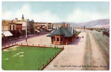 Postcard - Rock Springs Wyoming, Union Pacific Depot & Section of Town - C.1910
