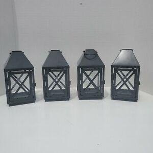 Set of 4 Hanging Lantern for Battery Operated Tea Light - Dark Gray