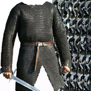 Armor Flat Riveted Flat Washer Chain mail shirt 9 mm Large Full Sleeve MS Oiled