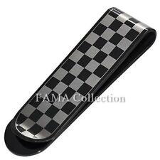 Checker Design Rectangle Money Clip Stylish Fama Black Stainless Steel