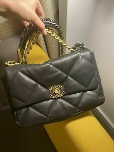 Chanel 19 Flap Bag Black Medium Size Pre-Owned Excellent Condition for Women