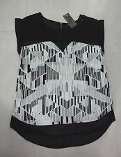 Katies: Size: 8. Modern Vertical Slim Black/White Dec-Geo Print, S/Sleeve Top
