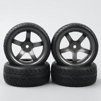 D5M 1:10 RC On Road Speed Racing Car Rubber Tread Tyre Tires Wheel Rim 4PCS