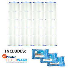 4 Pack Pleatco PCC105 Filter Cartridge Pentair Clean & Clear w/ 3x Filter Washes