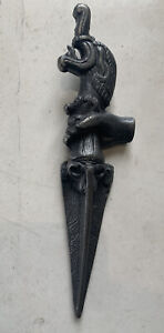Vintage Metal Solid Hand Forged Carved Figurative Head Ritual Ornament.