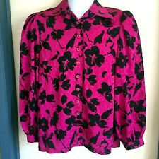 Womens Size Large Fuchsia Black Floral Blouse Shirt Long Sleeve Button Front
