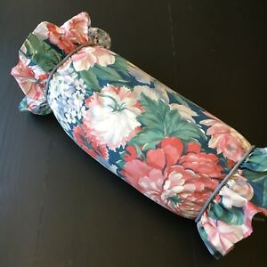Vintage Allyson Kent Blue Floral Bolster Pillow Shabby Cottage Romantic