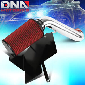 FOR 2002-2003 JEEP LIBERTY KJ 3.7L V6 COLD AIR INTAKE W/HEAT SHIELD+RED FILTER