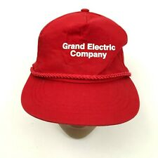 VINTAGE Grand Electric Company Rope Hat Cap Red Snapback One Size Adjustable Men