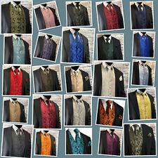 XS - 6XL Men Paisley Dress Vest Waistcoat & Necktie and Hanky for Suit or Tuxedo