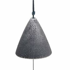 Japanese Furin Wind Chime Cast Iron Iwachu Pewter Ribbed Cone, Made in Japan