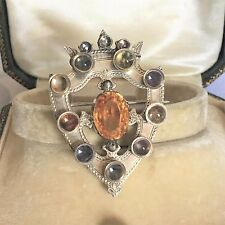Antique Scottish SILVER LARGE Brooch Cairngorm Multi Gemstone -KITE MARK 1866