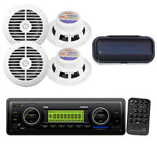 "Marine Car Boat WB USB MP3 Receiverw/ Radio Cover + 4x 6.25"" Black 120W Speakers"