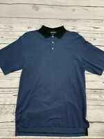 Golf Ralph Lauren Polo Mens Black Blue Pima Cotton Knit Shirt Size L EUC