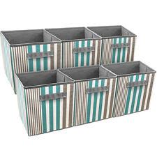 Sorbus Foldable Storage Cube Basket Bin, 6 Pack, Vertical Stripe Pattern (Aqua)