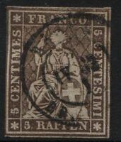 Svizzera - 1854/62 - 5 rappen bruno - Unificato n.26 - usato