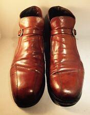 Vtg Florsheim Men's Sz 10C Caramel Slip On Leather Ankle Boot Buckle  Hipster