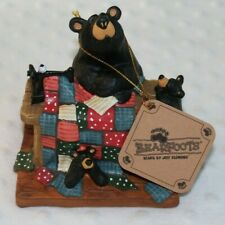 "Bearfoots Quilting w/ Cubs (5"" x 4"") Resin Stone Collectible Figurine By Demdaco"