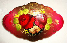 PRETTY RUSSIAN HANDPAINTED HAIR BARRETTE ~ NEW ~ WITH ARTIST'S INITIALS