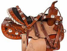 14 15 16 BROWN WESTERN BARREL RACING RACER LEATHER HORSE SADDLE TACK SET NEW
