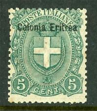 Italy 1895 Eritrea 5¢ Green  SG # 14 Mint D805 ⭐⭐⭐⭐⭐⭐