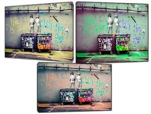 "Banksy Kids Peeing on bins ""life is short""  Print On Framed Canvas Wall Art"