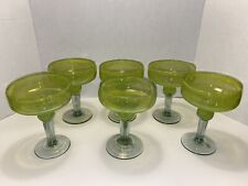 Lot (6) Six Beautiful Yellow Hand Blown Margarita Glasses - Art Glass - Mexico