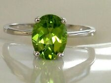 GENUINE PERIDOT NATURAL GEMSTONES SOLID STERLING SILVER 925 RING SIZE 6, 7, 8, 9