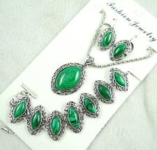 Women Tibetan Silver malachite Pendant Necklace Bracelets, earrings   AG-6