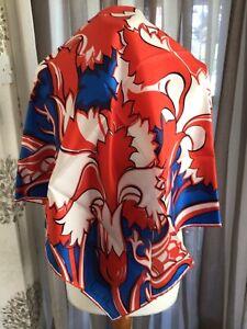 Vintage Richard Allan (Jacqmar) Pure Silk Ladies Scarf Square Red, White & Blue