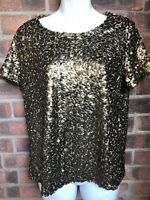 Gold Cap Sleeve Sequin Party Top - H&M - Size 12 - Christmas ?