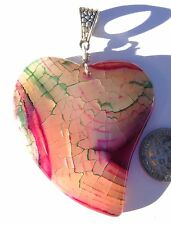 """HUGE RARE PINK DRAGON VEINS AGATE CARVED HEART 2"""" X 1.75'' PENDANT"""