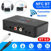 2in1 Bluetooth 5.0 Transmitter Receiver Wireless NFC 2 RCA 3.5mm AUX Adapter Car
