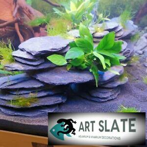 Art Slate 12pcs Fish Tank Aquarium Natural Stone Decoration Ornament Cave Hide