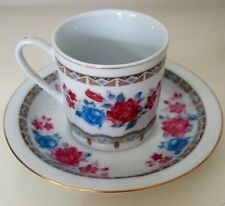 SIX ESPRESSO CAPPUCINO CUPS AND 6 MATCHING SAUCERS PINK AND BLUE FLORALS CHINA