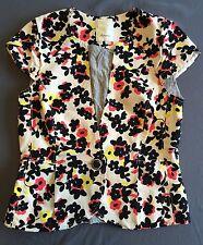 "Anthropologie Elevenses Floral Cap Sleeve Blazer Jacket Sz 4 - ""Pressed Dahlias"""