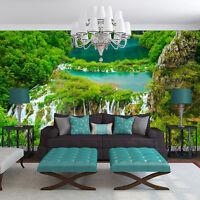 Fototapete XXL Ausblick Insel Wasserfall Landschaft Wohnzimmer Tapete Wandtapete