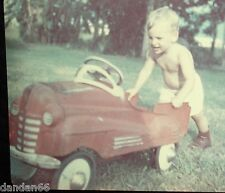 Blonde Boy Push 1940 STUCK Murray Fire Engine PEDAL CAR glossy PHOTO old vintage
