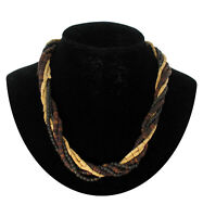 Natural Brown Wood Beaded Multistrand Collar Necklace Vintage