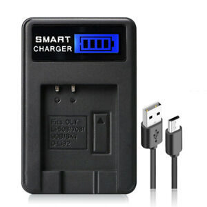 Fits for OLYMPUS Li-50B/70B/90B/BKI/D-Li92 Camera Battery Power Charger LCD Safe